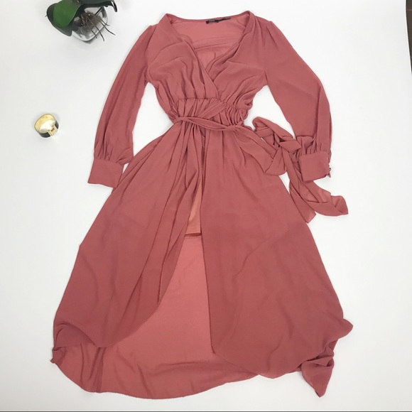 Poetry Dresses & Skirts - Poetry Chiffon long sleeve wrap dress
